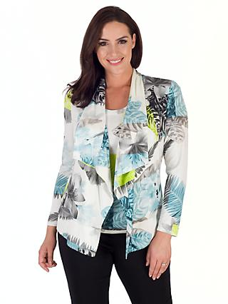 Chesca Fern And Floral Jersey Shrug, Turquoise/Lime