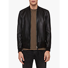 Buy AllSaints Mower Leather Bomber Jacket, Black Online at johnlewis.com