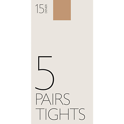 John Lewis 15 Denier Ladder Resist Tights, Pack of 5