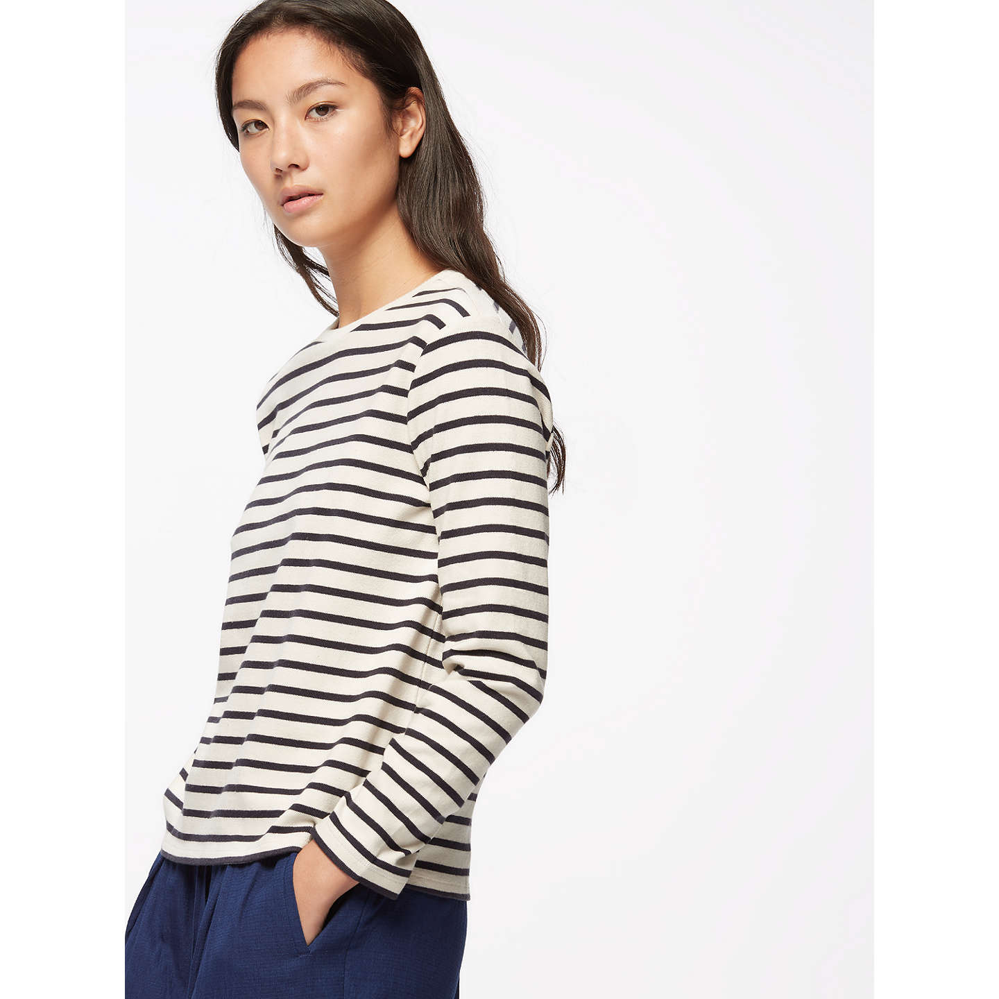 BuyJigsaw Cotton Breton Top, Smoke, XS Online at johnlewis.com