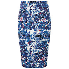 Buy Pure Collection Dalby Pencil Skirt, Blue Abstract Print Online at johnlewis.com
