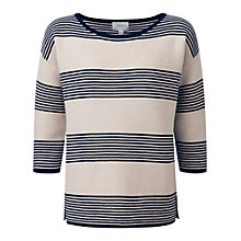 Buy Pure Collection Valeria Cotton Stripe Jumper, Navy/Ecru Online at johnlewis.com