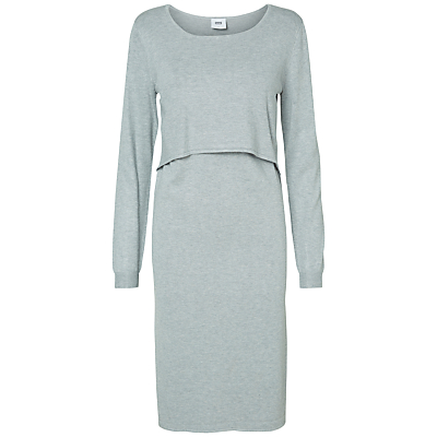 Mamalicious Long Sleeved Knit Maternity Nursing Dress, Light Grey
