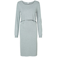 Buy Mamalicious Long Sleeved Knit Maternity Nursing Dress, Light Grey Online at johnlewis.com