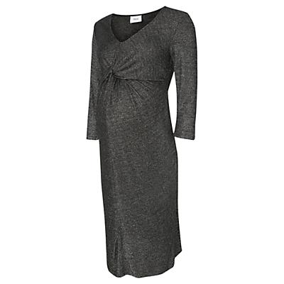 Mamalicious Glitter 3/4 Jersey Maternity Dress, Dark Grey