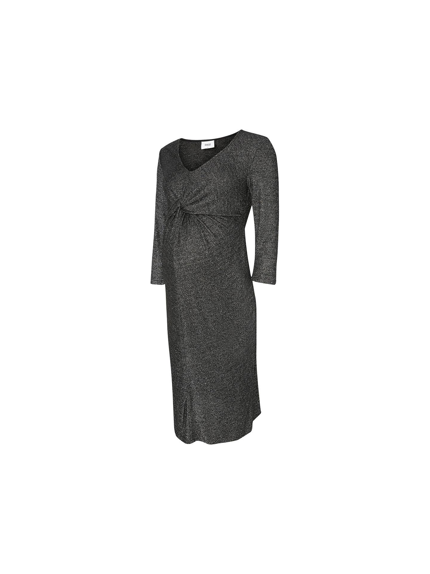 b844da7bea70e Buy Mamalicious Glitter 3/4 Jersey Maternity Dress, Dark Grey, S Online at