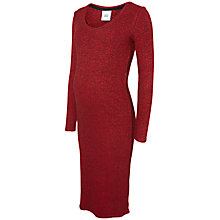 Buy Mamalicious Redo Ribbed Knit Maternity Dress, Red Online at johnlewis.com
