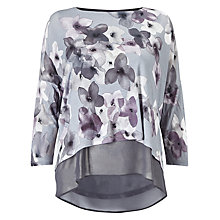 Buy Phase Eight Fraya Floral Double Layer Top, Grey Online at johnlewis.com