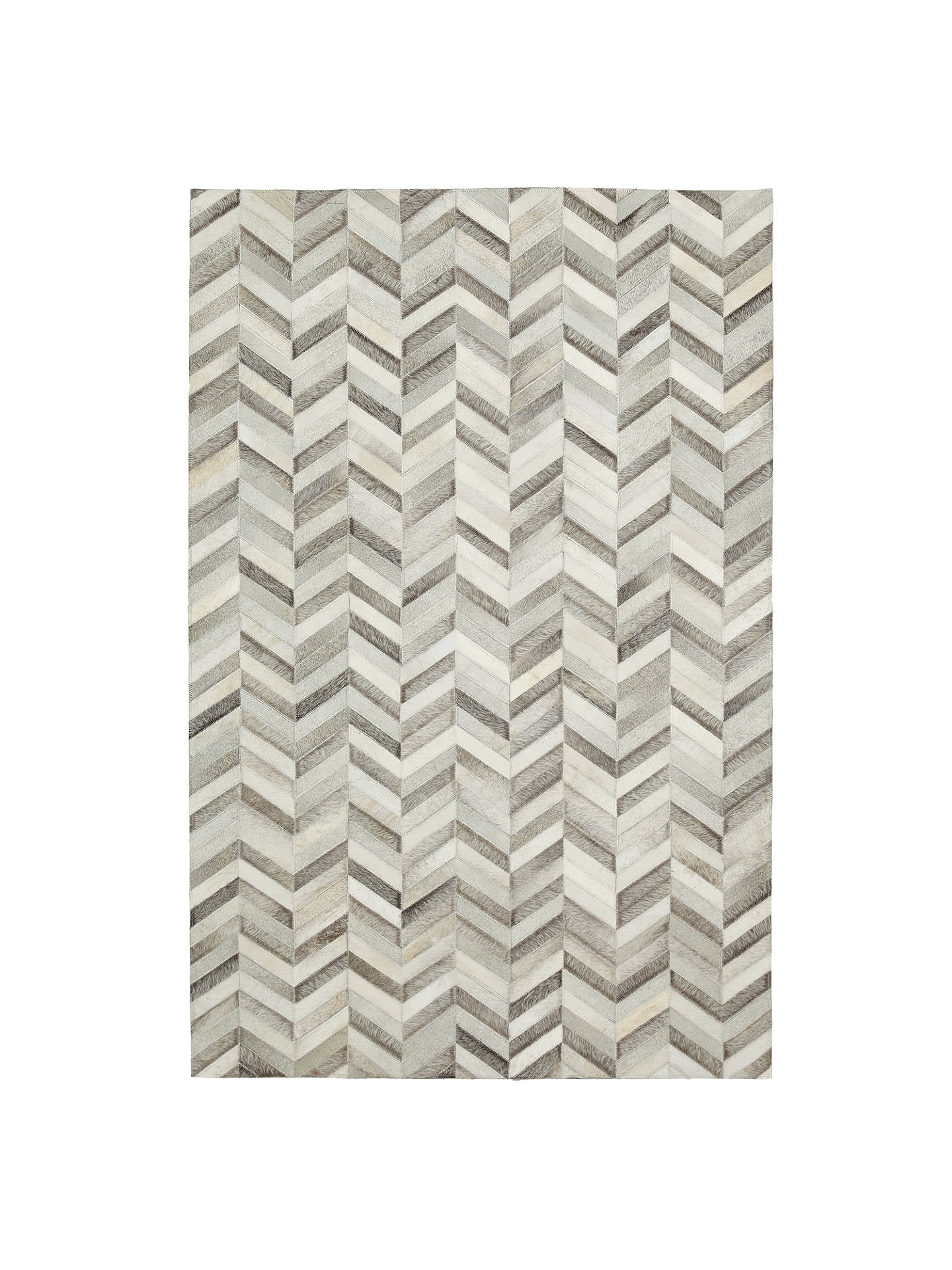 BuyJohn Lewis & Partners Cowhide Chevron Rug, Grey, L180 x W120cm Online at johnlewis.com