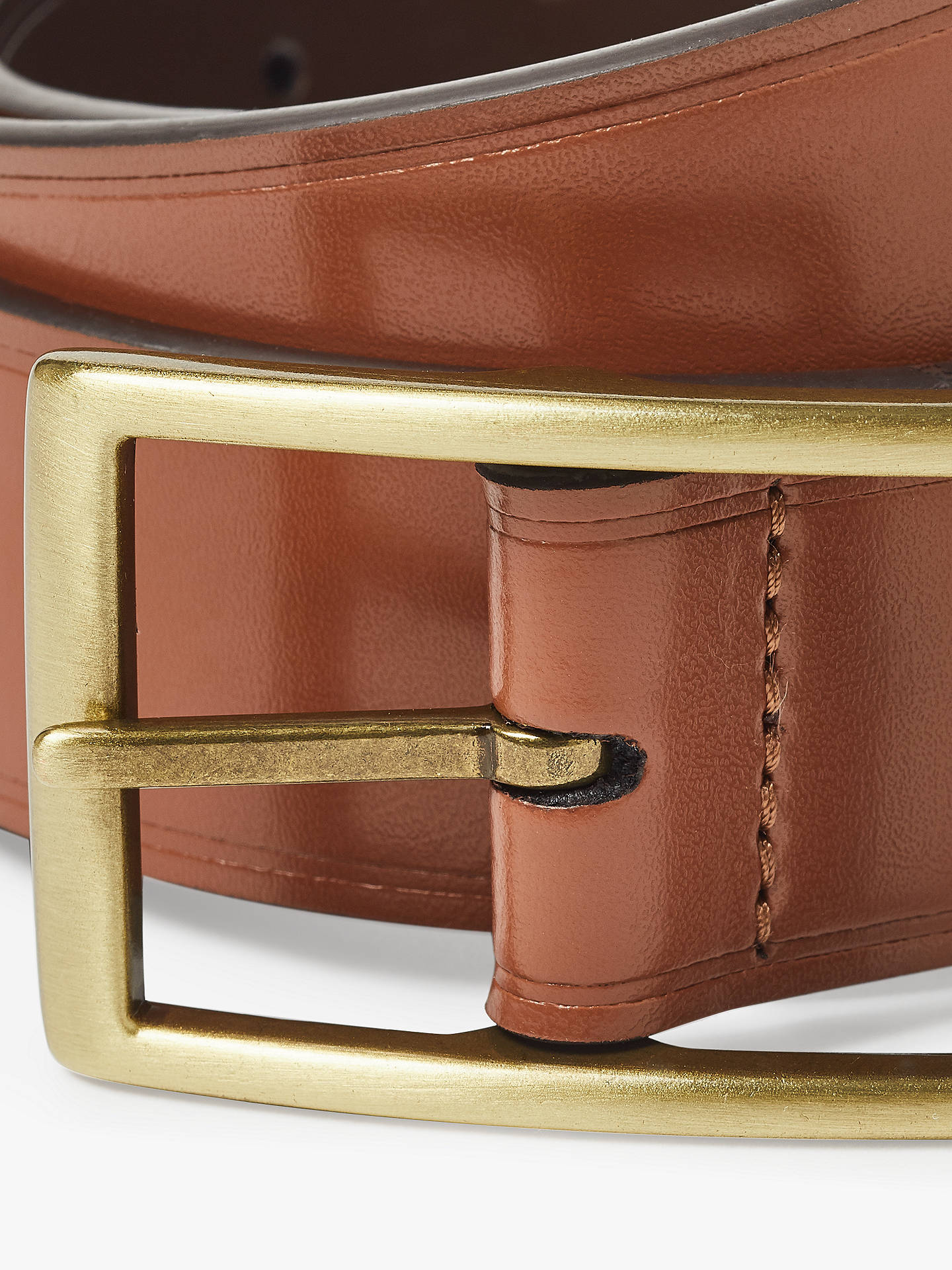 BuyJohn Lewis & Partners Full Grain Leather Stitch Belt, Tan, S Online at johnlewis.com
