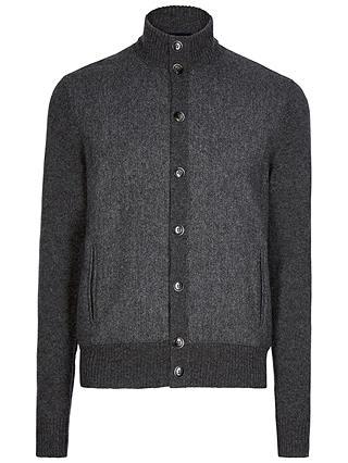 Hackett London Tweed Front Cardigan, Charcoal at John Lewis