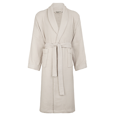 John Lewis Croft Collection Waffle Bath Robe, Silver