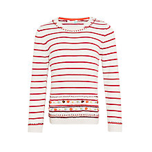 Buy John Lewis Girls' Embroidered Border Striped Jumper, Oatmeal Online at johnlewis.com