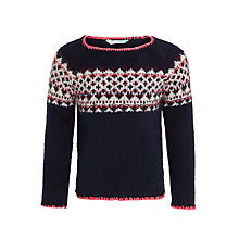 Buy John Lewis Girls' Neon Fair Isle Jumper, Navy Online at johnlewis.com