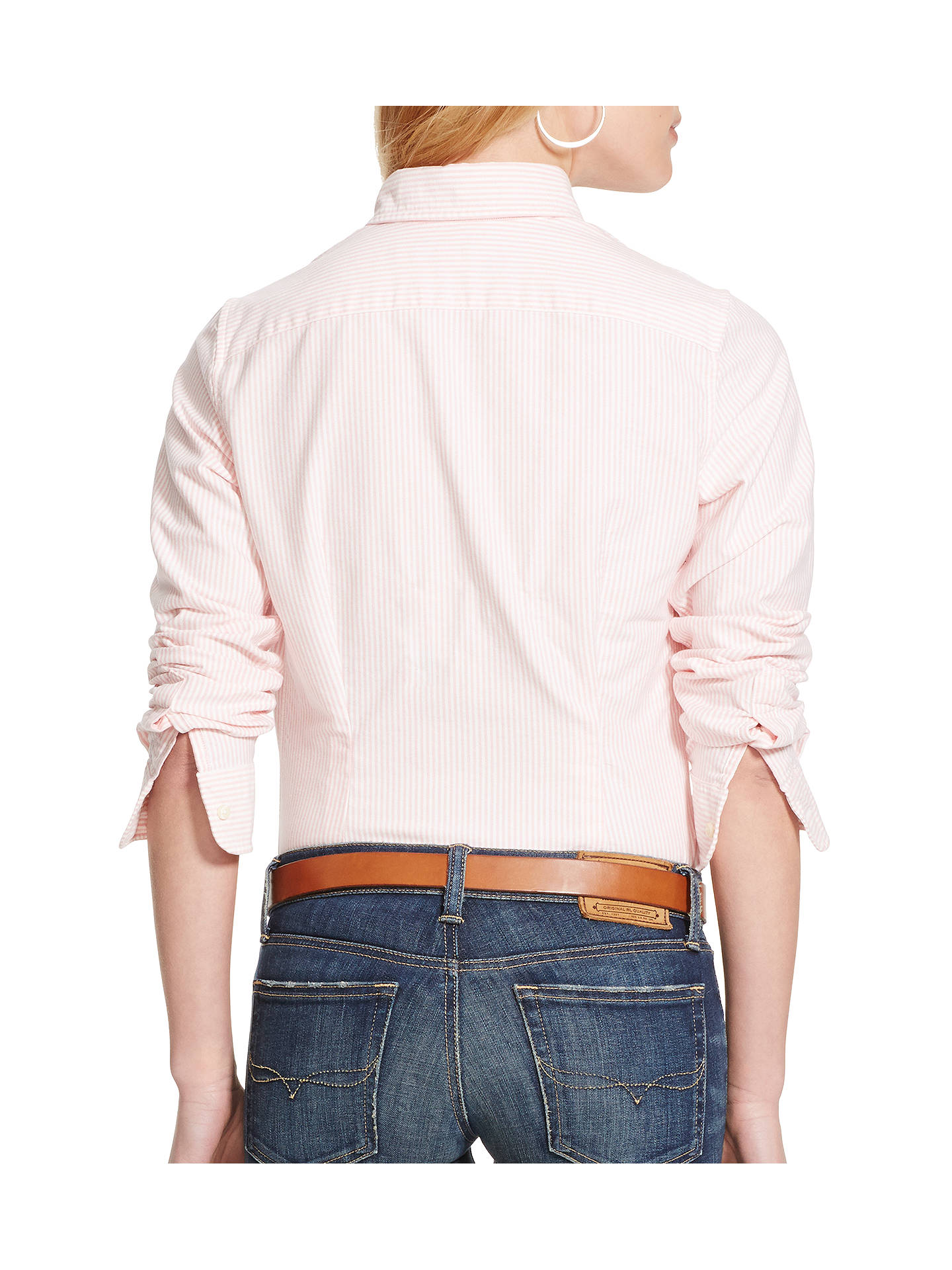 BuyPolo Ralph Lauren Harper Stripe Fitted Shirt, Pink/White, XS Online at johnlewis.com