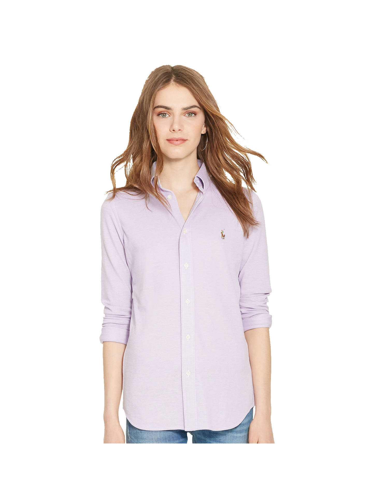 8d9b29bc03f Buy Polo Ralph Lauren Heidi Stretch Shirt, New Lavender, XS Online at  johnlewis.