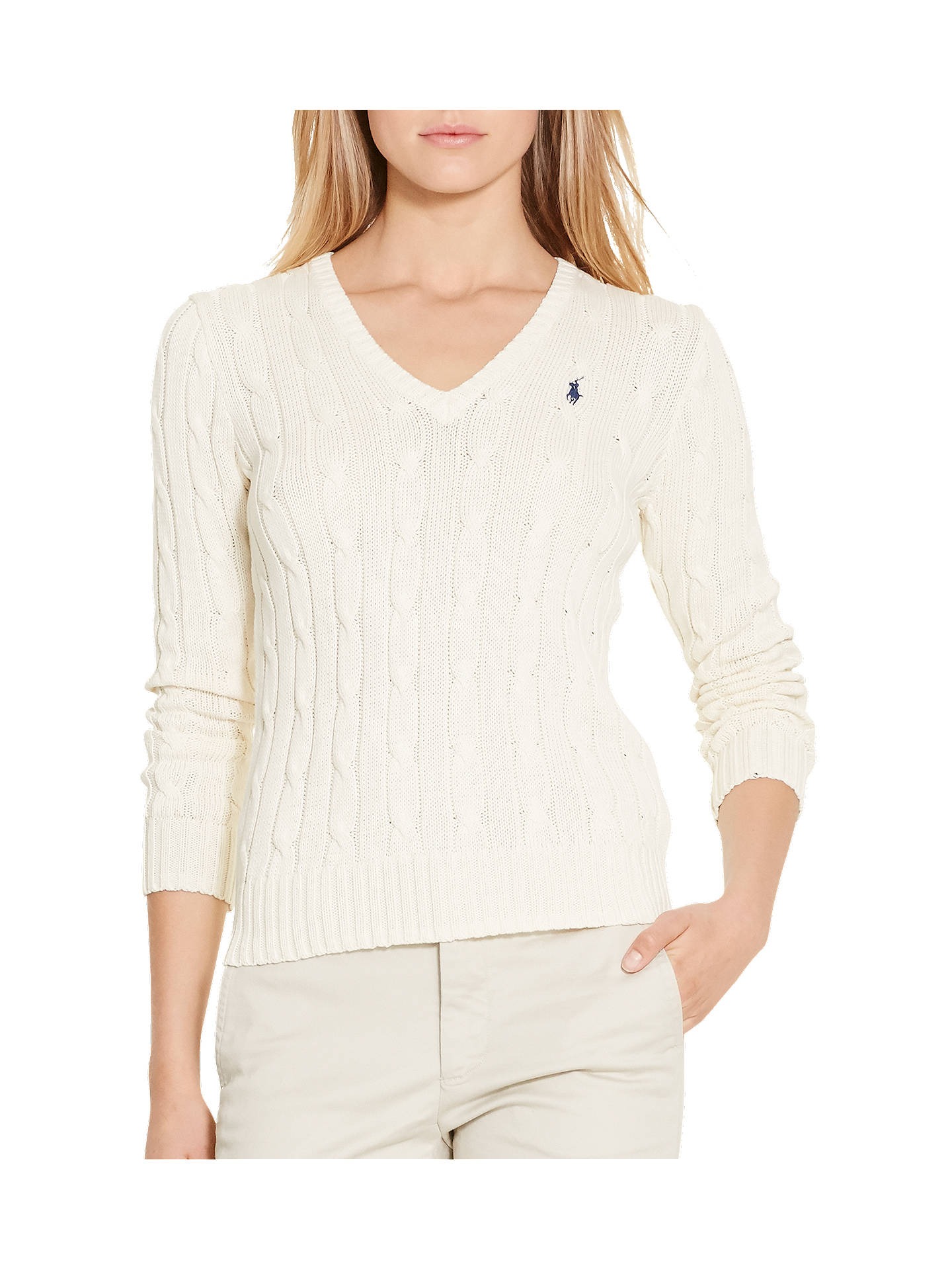 82a3aa7a53e1 Polo Ralph Lauren V-Neck Cable Knit Jumper at John Lewis   Partners