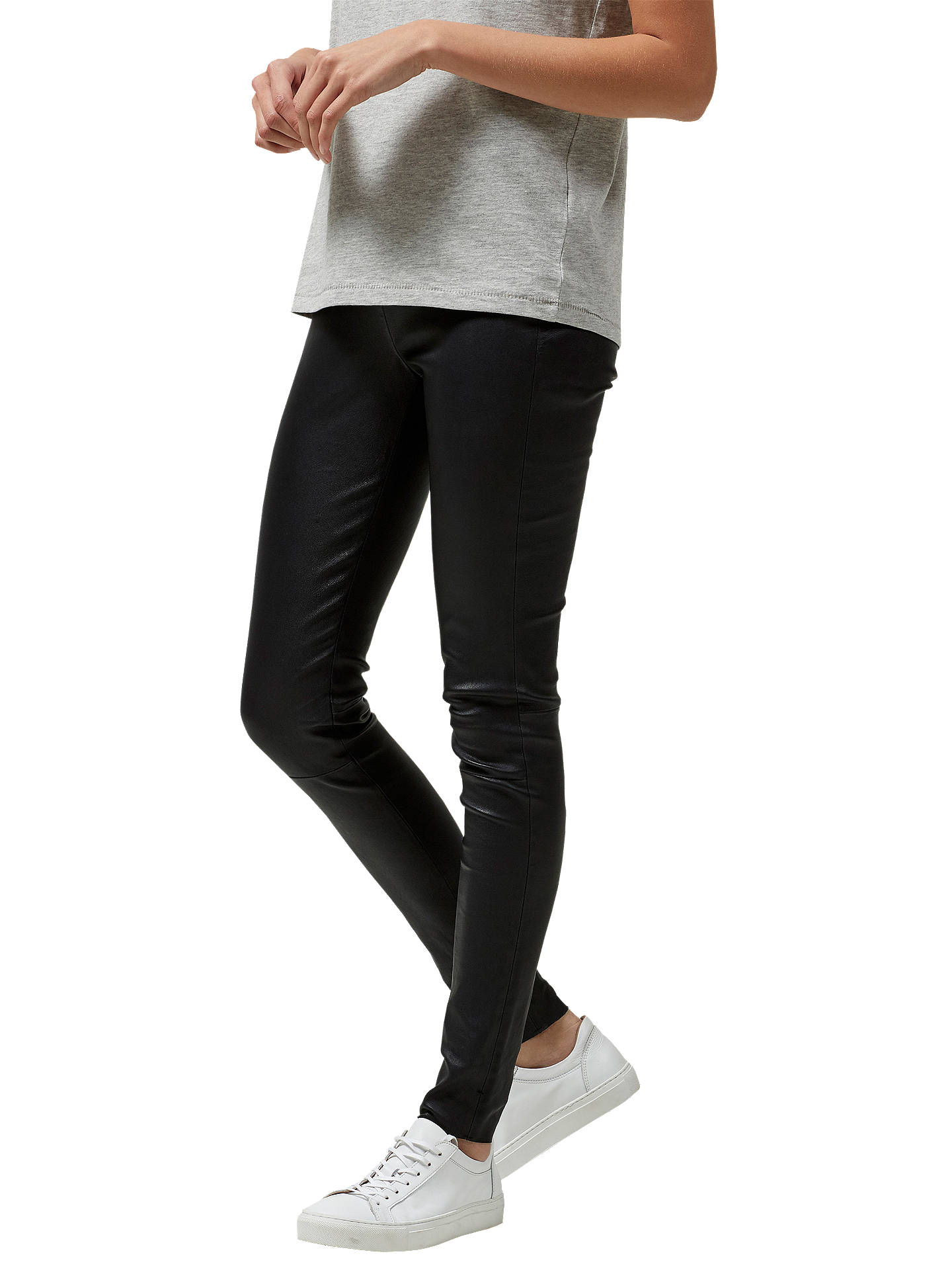 5eb21dde99ea1 Buy Selected Femme Silvia Slim Fit Leather Leggings, Black, 8 Online at  johnlewis.