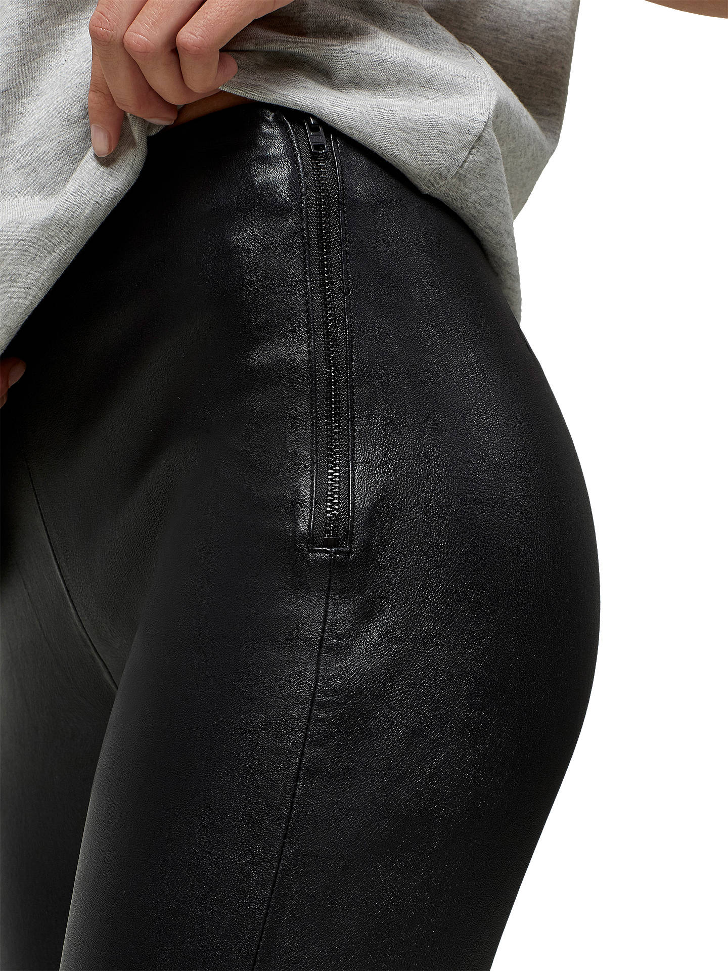 Buy Selected Femme Silvia Slim Fit Leather Leggings, Black, 8 Online at johnlewis.com