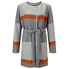 Buy BOSS Orange Origa Stripe Belted Wrap Coat, Grey Online at johnlewis.com