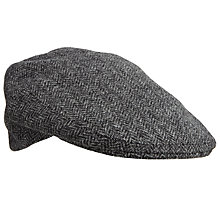 Buy Olney Herringbone Wool Flat Cap, Grey Online at johnlewis.com