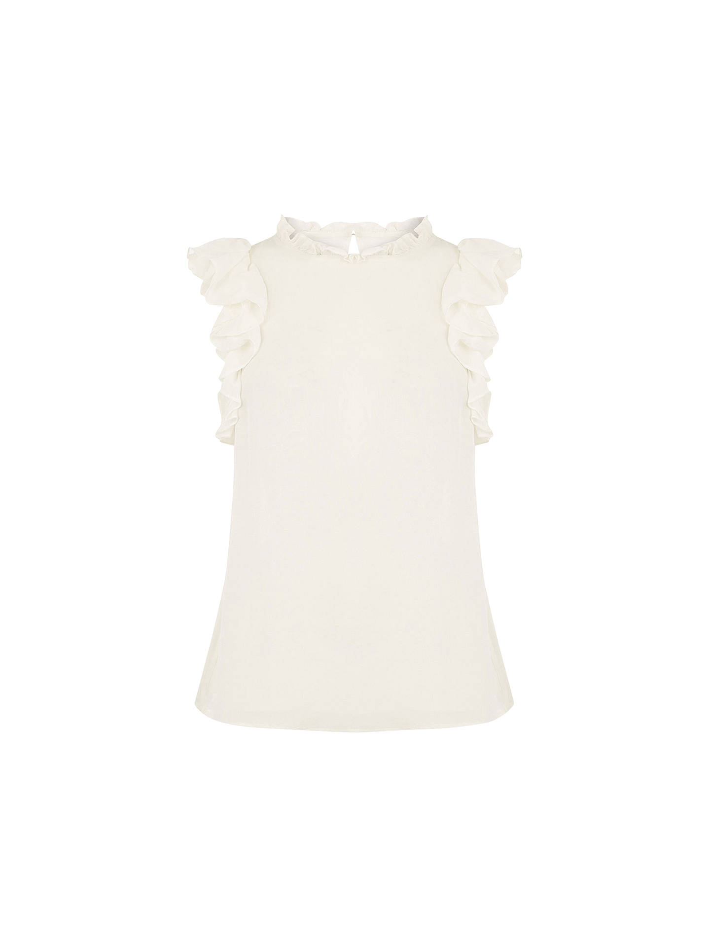 7548602a83a266 Buy Oasis Ruffle Sleeveless Shell Top, Off White, 8 Online at johnlewis.com  ...
