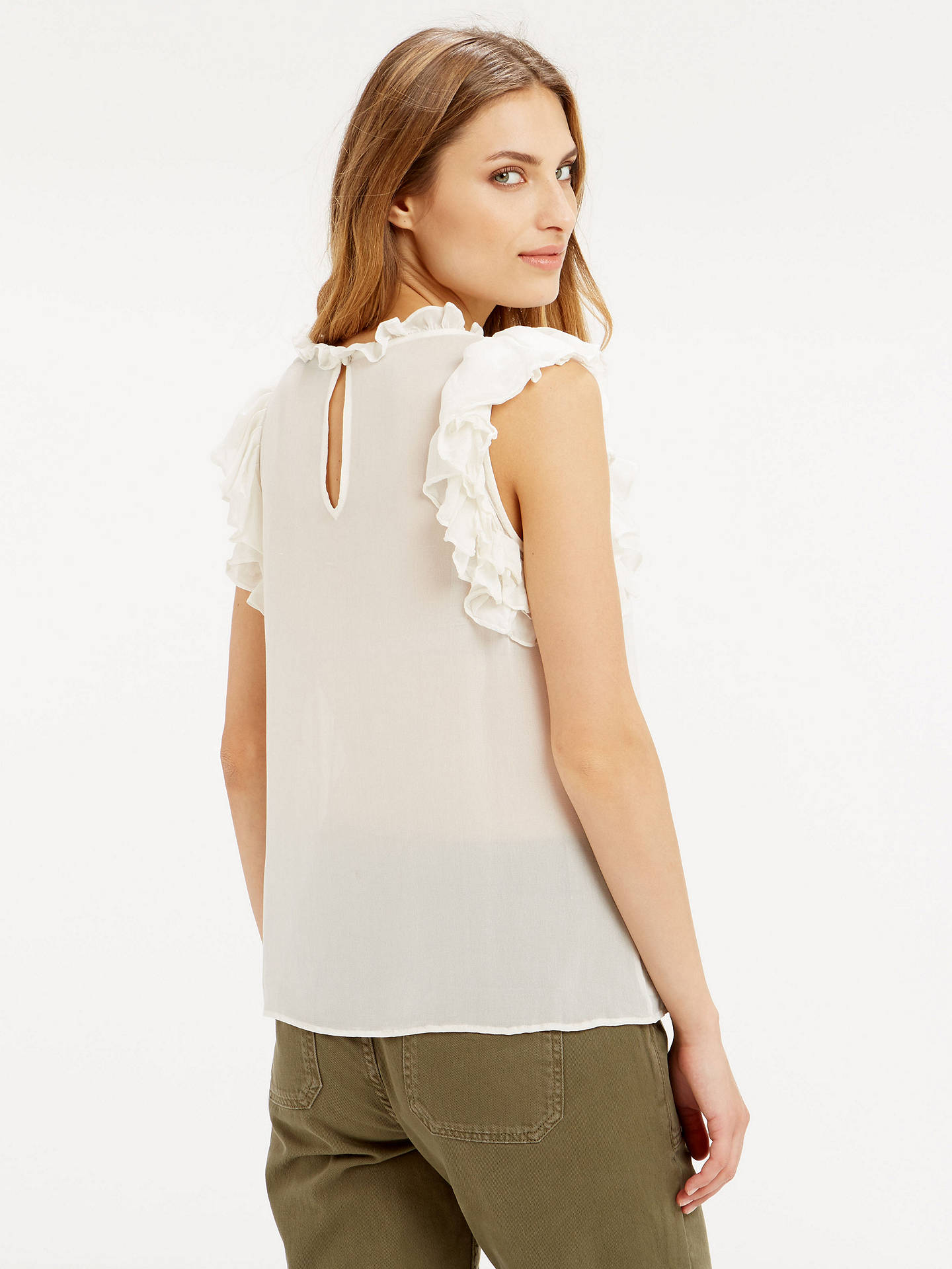 04cad590bc8d55 ... Buy Oasis Ruffle Sleeveless Shell Top, Off White, 8 Online at  johnlewis.com ...