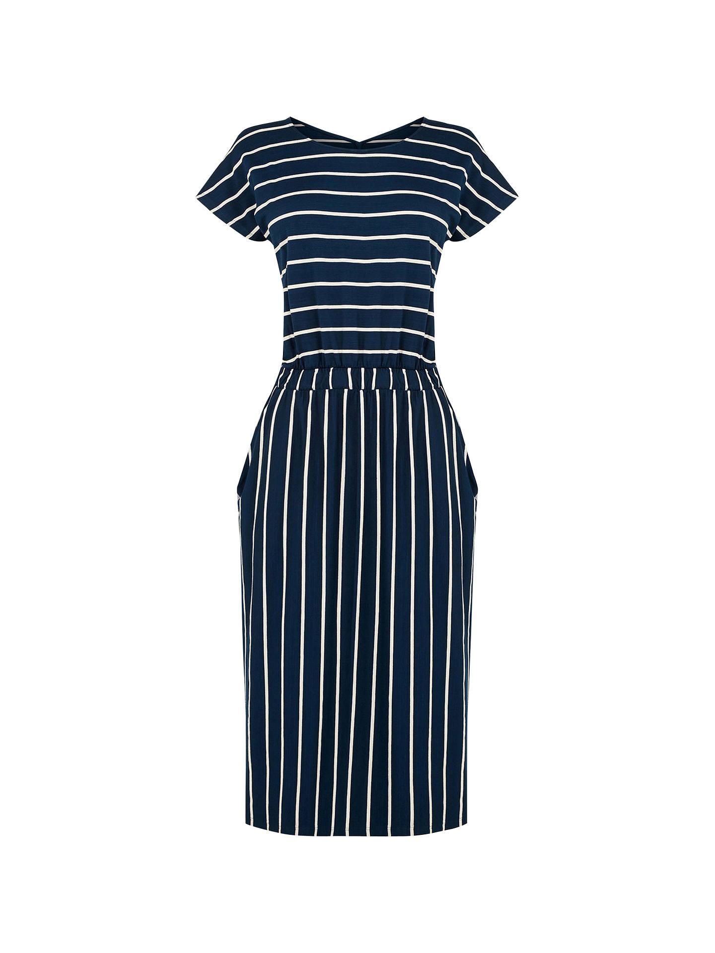 ad72cf61f6f4f Buy Warehouse Stripe T-Shirt Dress, Blue, 8 Online at johnlewis.com ...