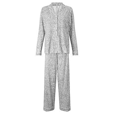 John Lewis Olga Ditsy Floral Print Pyjama Set, Grey/Ivory
