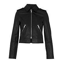 Buy Whistles Brooke Leather Biker Jacket, Black Online at johnlewis.com