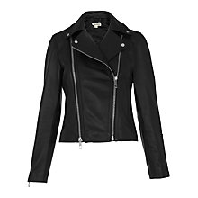 Buy Whistles Lexi Leather Biker Jacket, Black Online at johnlewis.com