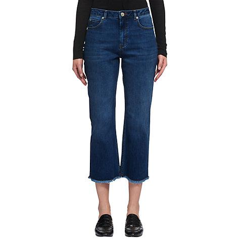 Buy Whistles Raw Hem Cropped Wide Leg Jeans, Denim   John Lewis