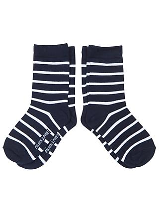 Polarn O. Pyret Children's Striped Socks, Pack of 2, Blue