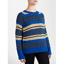 Buy Maison Scotch Metallic Fibre Jacquard Jumper, Blue Online at johnlewis.com