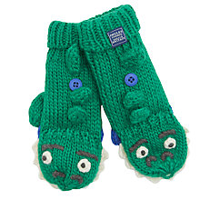 Buy Little Joule Children's Dinosaur Mittens, Green Online at johnlewis.com