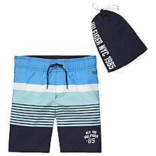 Buy Tommy Hilfiger Boys' Striped Colour Block Swim Shorts, Navy/Multi Online at johnlewis.com