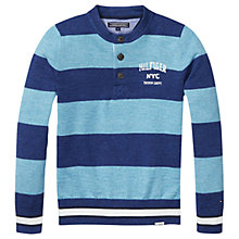 Buy Tommy Hilfiger Boys' Striped Henley Top, Navy/Blue Online at johnlewis.com