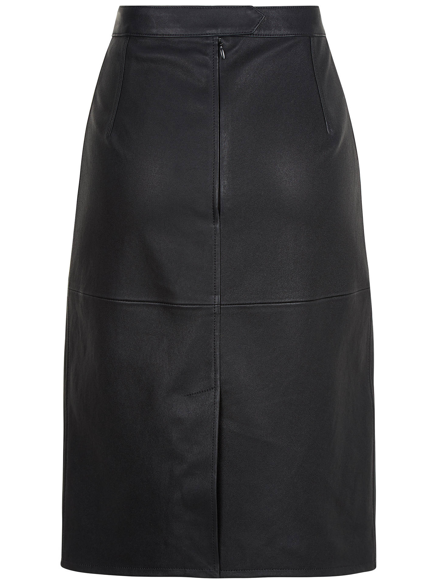 BuyJaeger Stretch Leather Skirt, Black, 6 Online at johnlewis.com