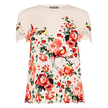 Buy Oasis Romantic Rose Lace Trim T-Shirt, Multi/Natural Online at johnlewis.com