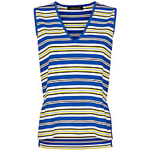 Buy Jaeger Stripe Split Hem Vest, White/Yellow Online at johnlewis.com