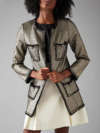Buy Darling London Dulcie Coat, Metallic Silver, 8 Online at johnlewis.com