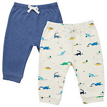 Buy John Lewis Baby Plain and Dinosaur Print Joggers, Pack of 2, Blue/White Online at johnlewis.com