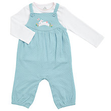 Buy John Lewis Baby Spot Print Dungaree and T-Shirt Set, Green/White Online at johnlewis.com