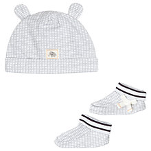 Buy John Lewis Baby Stripe Hat & Bootie Set, Grey Online at johnlewis.com