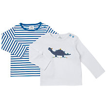Buy John Lewis Baby Dinosaur Jersey Top, Blue/White Online at johnlewis.com