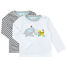 Buy John Lewis Baby Animals and Stripe Top, Pack of 2, White/Black Online at johnlewis.com