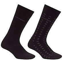 Buy BOSS Design Cubes Socks, Pack of 2, Black Online at johnlewis.com