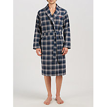 Buy BOSS Check Cosy Shawl Collar Robe, Navy Online at johnlewis.com