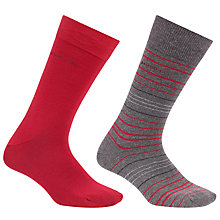 Buy BOSS Design Stripe Socks, Pack of 2, Grey/Red Online at johnlewis.com