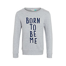 Buy John Lewis Girls' Born To Be Me Sweatshirt, Grey Marl Online at johnlewis.com